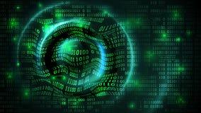 Ciberespacio abstracto de la matriz del arsenal de datos con los dígitos, fondo futurista con código binario y ondas de la circul stock de ilustración
