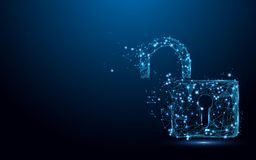 Cibernético desbloquee el concepto de la seguridad Cierre las líneas y los triángulos, red de conexión de la forma del símbolo de libre illustration