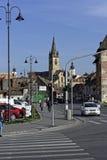 从Cibin桥梁的老镇锡比乌罗马尼亚视图 免版税库存图片
