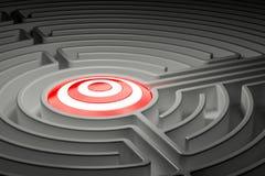 Cible à l'intérieur de labyrinthe de labyrinthe 3d Photo stock