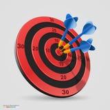 Cible avec des dards, icône de la cible 3d, illustration de vecteur Images libres de droits