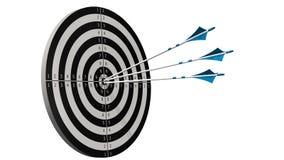 Cible avec des flèches - cible avec trois flèches d'arc au milieu de la cible d'isolement sur le blanc Photos libres de droits
