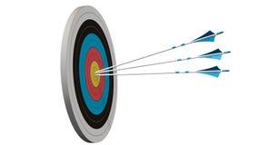 Cible avec des flèches - cible avec trois flèches d'arc au milieu de la cible d'isolement sur le blanc Image libre de droits
