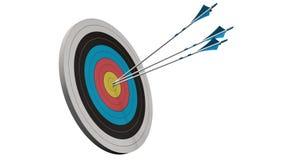 Cible avec des flèches - cible avec trois flèches d'arc au milieu de la cible d'isolement sur le blanc Photographie stock libre de droits