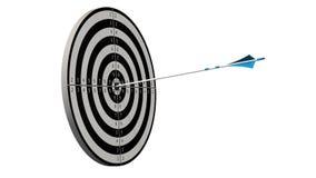Cible avec une flèche - cible avec des arros d'un arc au milieu de la cible d'isolement Images libres de droits