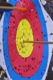 Cible de tir à l'arc avec la flèche dans la boudine Image stock