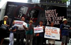 Cibles Chuck Schumer de rassemblement pour s'opposer à l'affaire de l'Iran d'Obama Images libres de droits