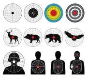 Cibles pour tirer avec l'homme de silhouette et l'ensemble de vecteur d'animaux illustration stock