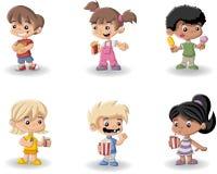 Cibo dei bambini del fumetto Fotografia Stock