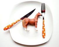 Il problema con il cibo della carne del cavallo Immagine Stock Libera da Diritti