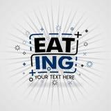 Cibo del logo con i buoni pasti riscaldati sul posto illustrazione di stock