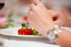 Cibo della cena molto piacevole in un ristorante Fotografie Stock