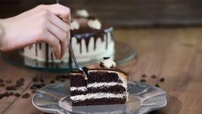Cibo della fetta di dolce di cioccolato con le gente stock footage