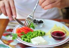 Cibo della prima colazione mediterranea Immagine Stock Libera da Diritti