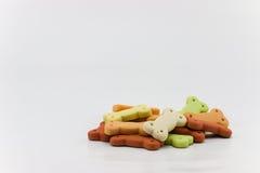 Cibo per cani, mucchio dei biscotti per cani sotto forma di un osso Immagine Stock Libera da Diritti