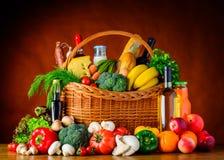 Cibo sano Alimento biologico, verdure e frutta Fotografie Stock Libere da Diritti
