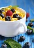 Cibo sano, alimento e concetto di dieta - fiocchi di granturco con i lamponi ed i mirtilli delle bacche su fondo di legno blu fotografie stock libere da diritti