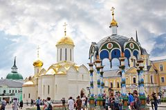 Ciborium over the source of holy water and Trinity Cathedral in Royalty Free Stock Photo