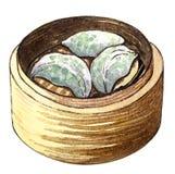 Ciboulette de dim sum de nourriture d'aquarelle et boulette asiatiques de crevette rose illustration de vecteur