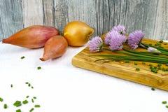 Ciboulette de floraison de vert frais, échalotes et oignon jaune Photos stock