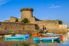 Ciboure, France - Sept 26, 2016: Fishing harbour of Ciboure, Basque country. Small coloreful fish boats on the old port of the cit. Adel stock photo