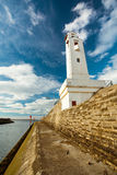Ciboure Lighthouse. The Ciboure lighthouse, at the channel entry, under a vibrant blue sky full of fluffy clouds royalty free stock image