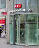 CIC银行办公室的入口在苏黎世 免版税图库摄影
