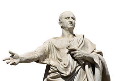Cicero, the ancient roman senator. Cicero, the greatest ancient roman orator, marble statue in front of Rome Old Palace of Justice, made in 19th century isolated Stock Photos