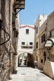 Ciche ulicy w starym mieście Jerozolima, Izrael Przez Delorosa ulicy Obraz Stock