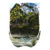 Cichy osamotniony jezioro royalty ilustracja