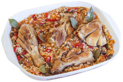 Cicken Meat with Vegetable Stew in Porcelain Pan Isolated on Whi Stock Image