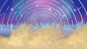 Ciclón de la tempestad de arena del desierto de la animación en paisaje de la montaña rocosa de la fantasía con la rotación de la libre illustration