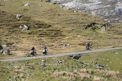 Ciclagem de três ciclistas Imagens de Stock Royalty Free