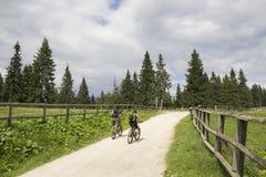 Ciclagem em uma estrada da montanha Imagens de Stock Royalty Free