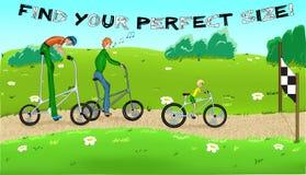 Ciclagem engraçada com três cyclists2. Ilustração do Vetor