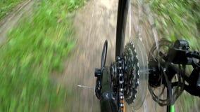 Ciclando con la vista della foresta dall'ingranaggio della cassetta della ruota posteriore archivi video