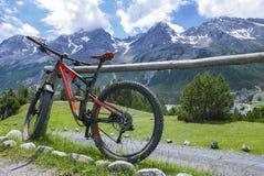 Ciclando nelle alpi Fotografia Stock Libera da Diritti