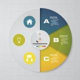 Cicle дизайна Infographics половинные и долевая диограмма Концепция дела с 3 вариантами иллюстрация вектора