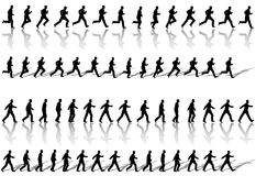 Cicli esecuzione di sequenza del blocco per grafici dell'uomo di affari & camminata di potenza Immagini Stock Libere da Diritti