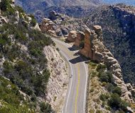 Cicling on a curvy road cliff. Arizona Stock Photos