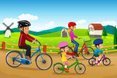 Ciclismo andante della famiglia insieme Fotografia Stock Libera da Diritti