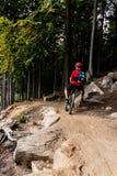 Ciclismo da equitação do motociclista da montanha na floresta do outono Fotografia de Stock Royalty Free