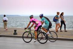 Ciclismo da frente marítima Fotografia de Stock Royalty Free
