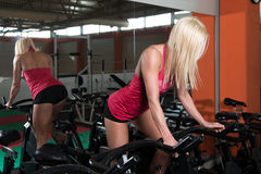 Ciclismo da mulher da aptidão no treinamento do halterofilismo da bicicleta Foto de Stock Royalty Free