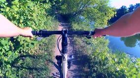 Ciclismo da pessoa na floresta do verde do passeio da bicicleta filme