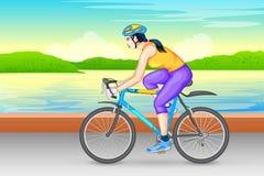 Ciclismo da senhora para a aptidão ilustração stock