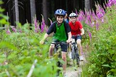 Ciclismo del ragazzo e dell'adolescente sulle tracce della foresta Immagine Stock