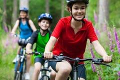 Ciclismo della famiglia Fotografia Stock