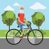 Ciclismo idoso do homem ilustração stock
