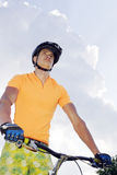 Ciclist. The young cyclist in sportswear outdoors Royalty Free Stock Photography